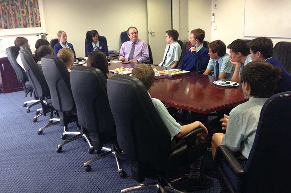 Gary speaks with Australian students